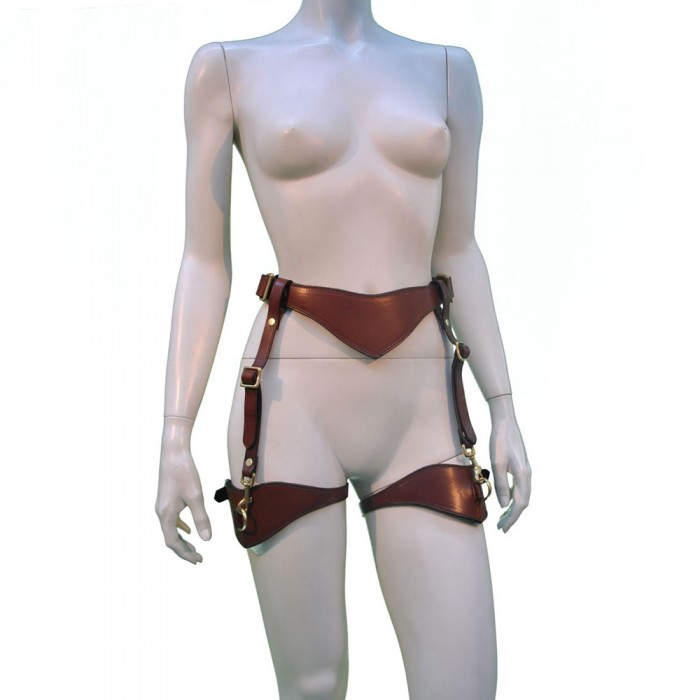 Masters Desire Leather Bondage Suspenders